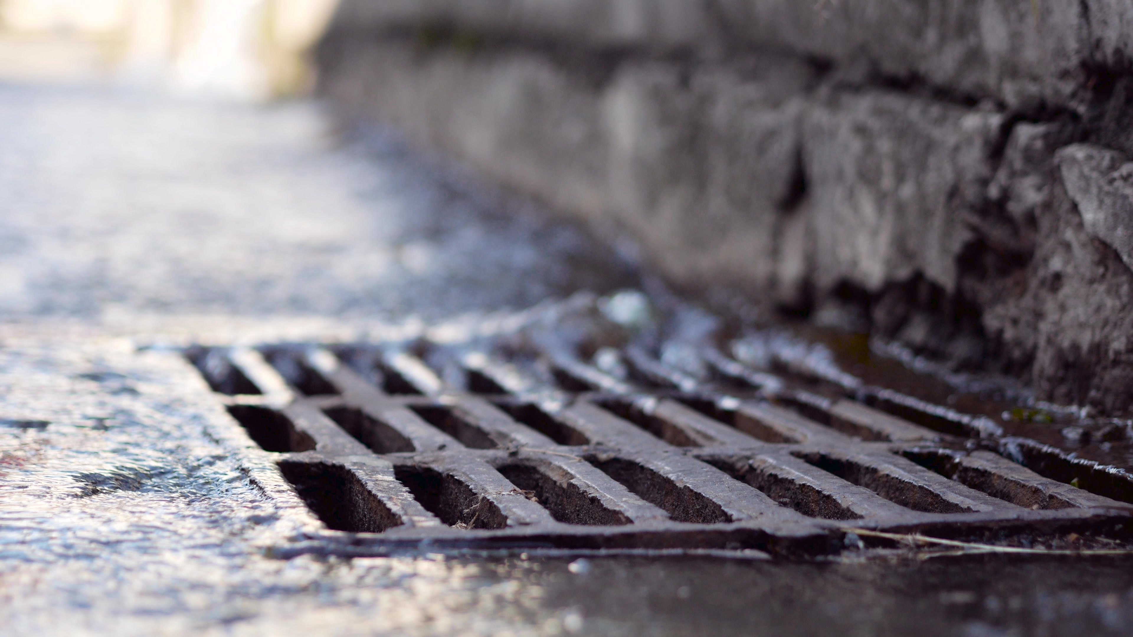 Water running into a storm drain