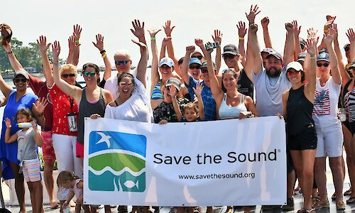 Enthusiastic group of Save the Sound supporters