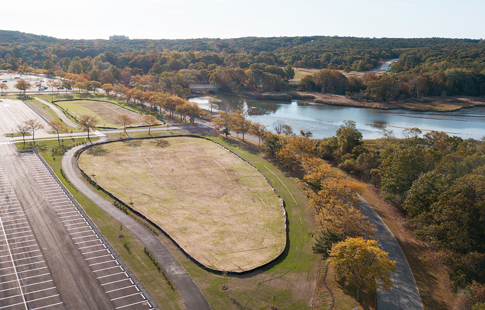 Aerial shot of restoration project in Sunken Meadows, New York